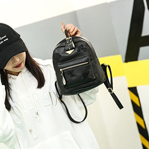 Bag Girl Women Style Bag Black Solid Shoulder Small Preppy Bag Backpack School Leather Zipper Fashion YxTZqOfwH