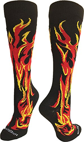 MadSportsStuff Flame Socks Athletic Over the Calf Socks (Black/Red/Gold, Small) (Red Arch Wrestling)