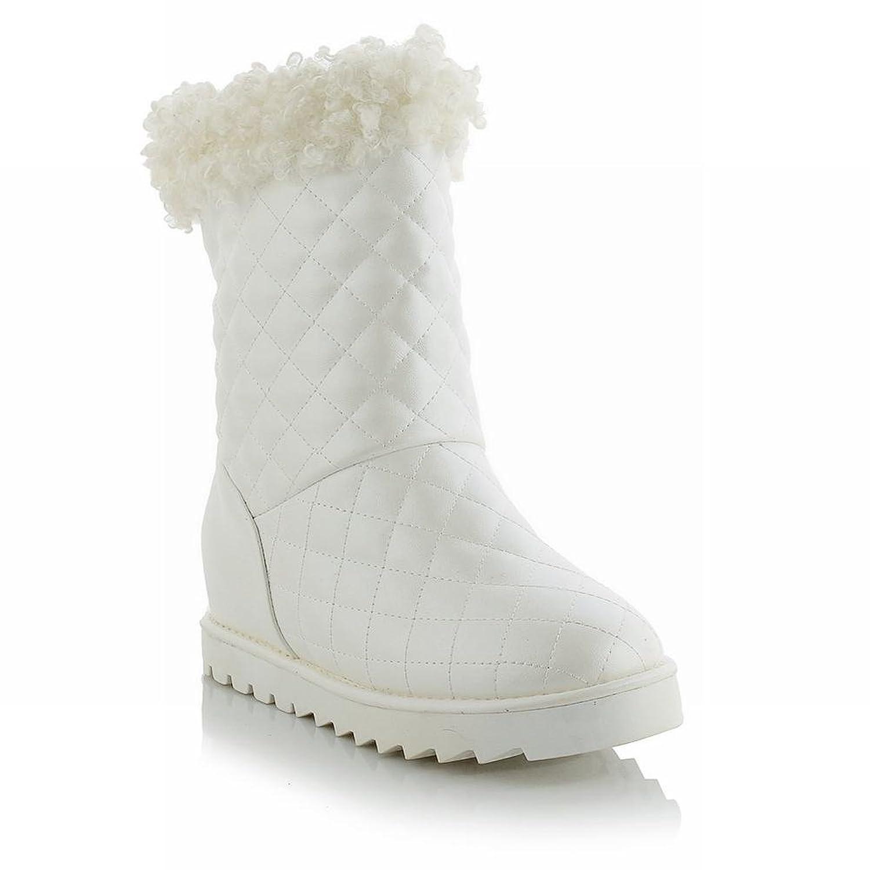 Carolbar Women's Faux Fur Decorations Fashion Cute Lovely Warm Hidden Heel Snow Boots