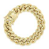Cuban Link Gold Plated Bracelet 18k Box Clasp Miami Chain Stainless Steel Fashion Jewelry 18 mm 9.5'' Long Womenn Men