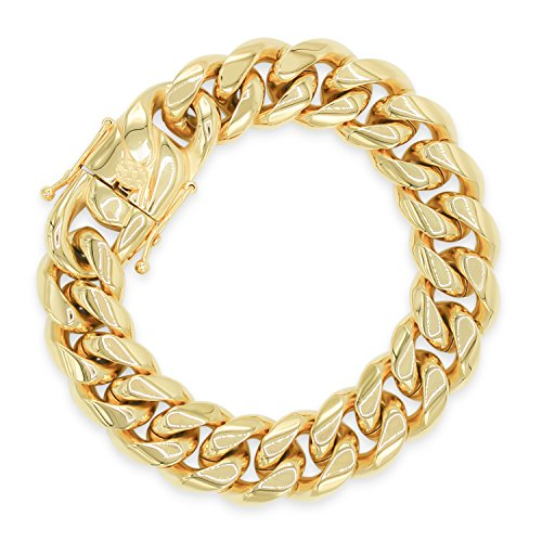 Cuban Link Chain Bracelet 18k Gold Plated With Box Clasp Miami Cuban Stainless Steel, Fashion Jewelry 18 mm 9