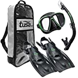 TUSA Sport Adult Powerview Mask, Dry Snorkel, and Fins Travel Set, Large, Black/Siesta Green