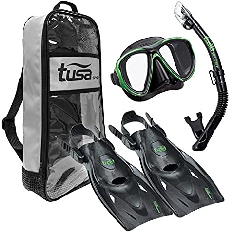 TUSA Sport Adult Powerview Dry Travel Set, Medium, Black/Green