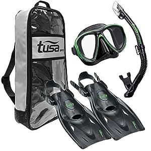 TUSA Sport Adult Powerview Mask, Dry Snorkel, and Fins Travel Set, Medium, Black/Siesta Green