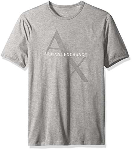 A|X Armani Exchange Men's AX Logo Crew Neck Short Sleeve Jersey T-Shirt, Heather Grey, Large