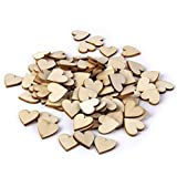 FOLWEP Rustic Blank Hearts Wood Crafts Decor Wooden Slices Table Scatter Wedding Decoration, Pack of 50pcs, 4cm