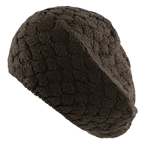 e Stitch Knit Slouchy Beret Warm Winter Ski Hat - Charcoal (Basket Weave Charcoal)
