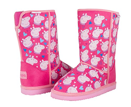 Peppa Pig Toddler Girls Faux Fur Lined Cold Weather Boots Pink Size 8