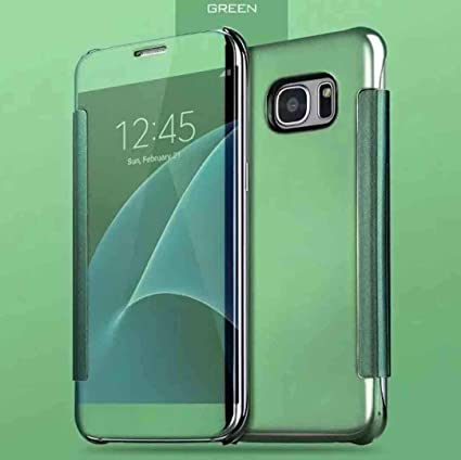 Galaxy S8 Case, Translucent Window View Flip Cover, Shiny Plating Make Up  Mirror, TAITOU Smart Sleep/Awake Hard Case For Samsung Galaxy S8, Scan QR