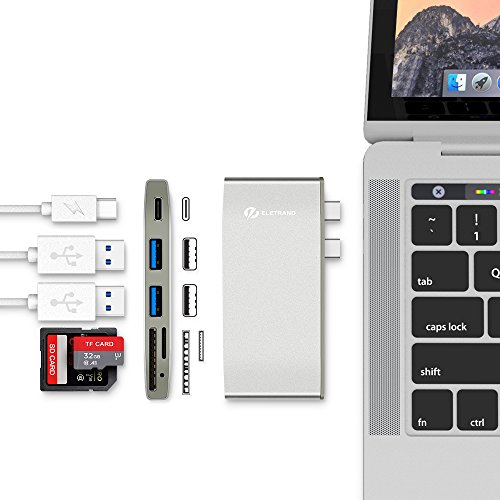 MacBook Pro Dock, Eletrand Thunderbolt 3 Adapter USB C Hub for Apple MacBook Pro 2016 2017 13'' 15'' Multi-port Type-C Adapter with 40Gbps TB3, 100W Pass-through Charging, USB-C, SD/M Sliver by Eletrand