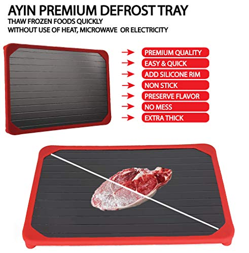 AYIN Aluminum Magical Fast Defrosting Safest Way Thawing Tray | Thaws Frozen Food Quick | Defrost-Melting Tray | Rapid Defrost Pad for Meat or Frozen Food