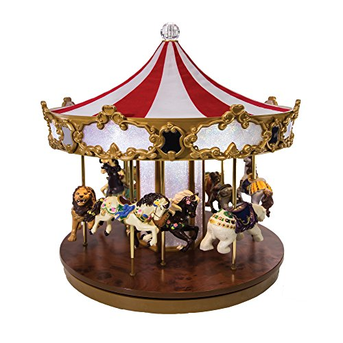 Mr. Christmas Shimmering Grand Carousel Music Box with 30 Songs, Fabric Red White Top, and Lights - Animated Tabletop Musical Holiday (Top 3 Halloween Songs)