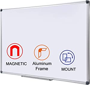 24x36 inch Magnetic Dry Erase Board   Mall-Mounted Aluminum Frame White Board with Pen Tray  Dry Erase Marker Board for Office, School and Home Usage