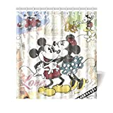 Cute Curtains Miss2 Shower Curtain,Cute Disney Cartoon Mickey Minnie Mouse DIY Custom Waterproof Polyester Shower Curtain Standtar Size 66X72