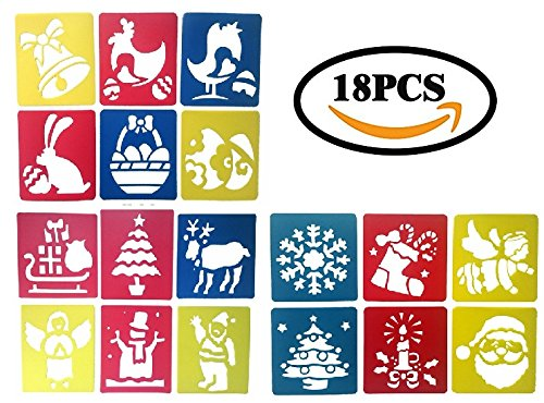 Plastic Christmas Easter Holiday Drawing Painting Stencils Templates Kit of 18 by - Drawing Snowflakes Christmas