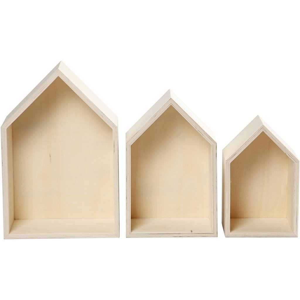 3 Teiliges Set Holzbox Regalbox Hausform Wandregal