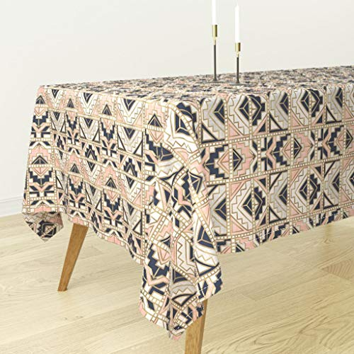 Roostery Tablecloth - Aztec Geo Geometric Navy Kilim Tapestry Tribal by Crystal Walen - Cotton Sateen Tablecloth 70 x 90