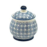 Patterned Sugar Bowl / Pot with Lid - Blue Flower