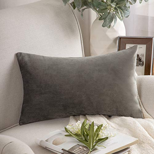 Phantoscope Velvet Decorative Throw Pillow Cover Soft Solid Square Cushion Case for Couch Dark Grey 12 x 20 inches 30 x 50 cm