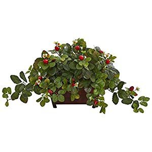 Nearly Natural 8211 Strawberry Artificial Decorative Planter Silk Plants Green 104