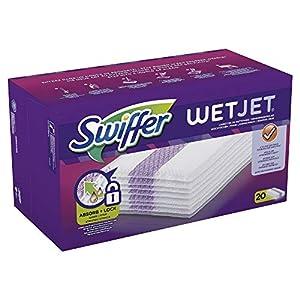 Swiffer WetJet Lingettes de Recharge pour Balai Spray, Retient la poussière et la saleté, 20 Lingettes
