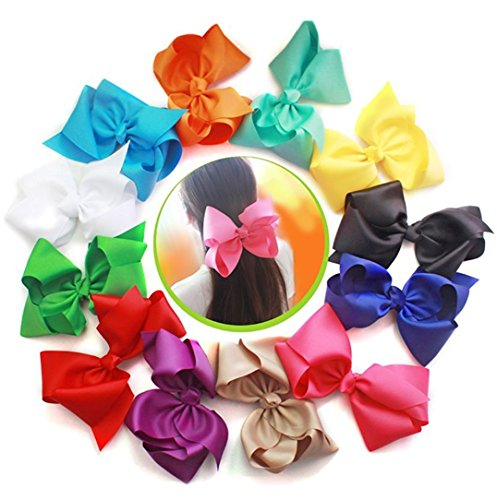 Cellot Boutique Girls Big Hair Bows Clips | 12 Pcs 8