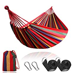 Garden and Outdoor Anyoo Single Cotton Outdoor Hammock Multiples Load Capacity Up to 450 Lbs Portable with Carrying Bag for Patio Yard… hammocks