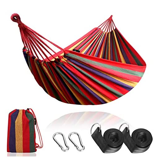 Garden and Outdoor Anyoo Garden Cotton Hammock Comfortable Fabric Hammock with Tree Straps for Hanging Durable Hammock Up to 450lbs… hammocks