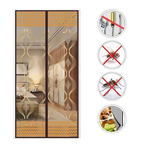 (Embroidered Magnetic Screen Door, Reinforced Magnet with Full Frame Velcro Heavy Duty Mesh Curtain Stripe Keep Biting Bugs Out Fits Doors up)