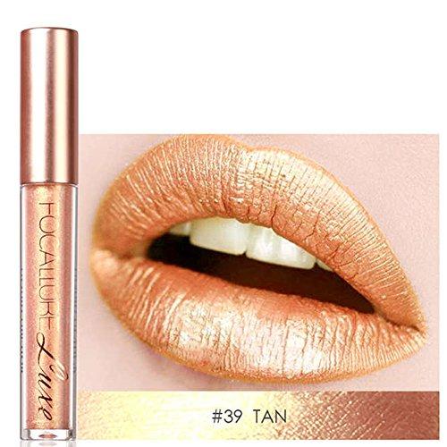 (Focallure Gold Lipstick Metallic Sparkly Bronze Lipgloss Womens Makeup Stay On Glitter Glossier Lip Gloss Long Lasting Colorstay Liquid Waterproof Beauty Lip Stick Tan)