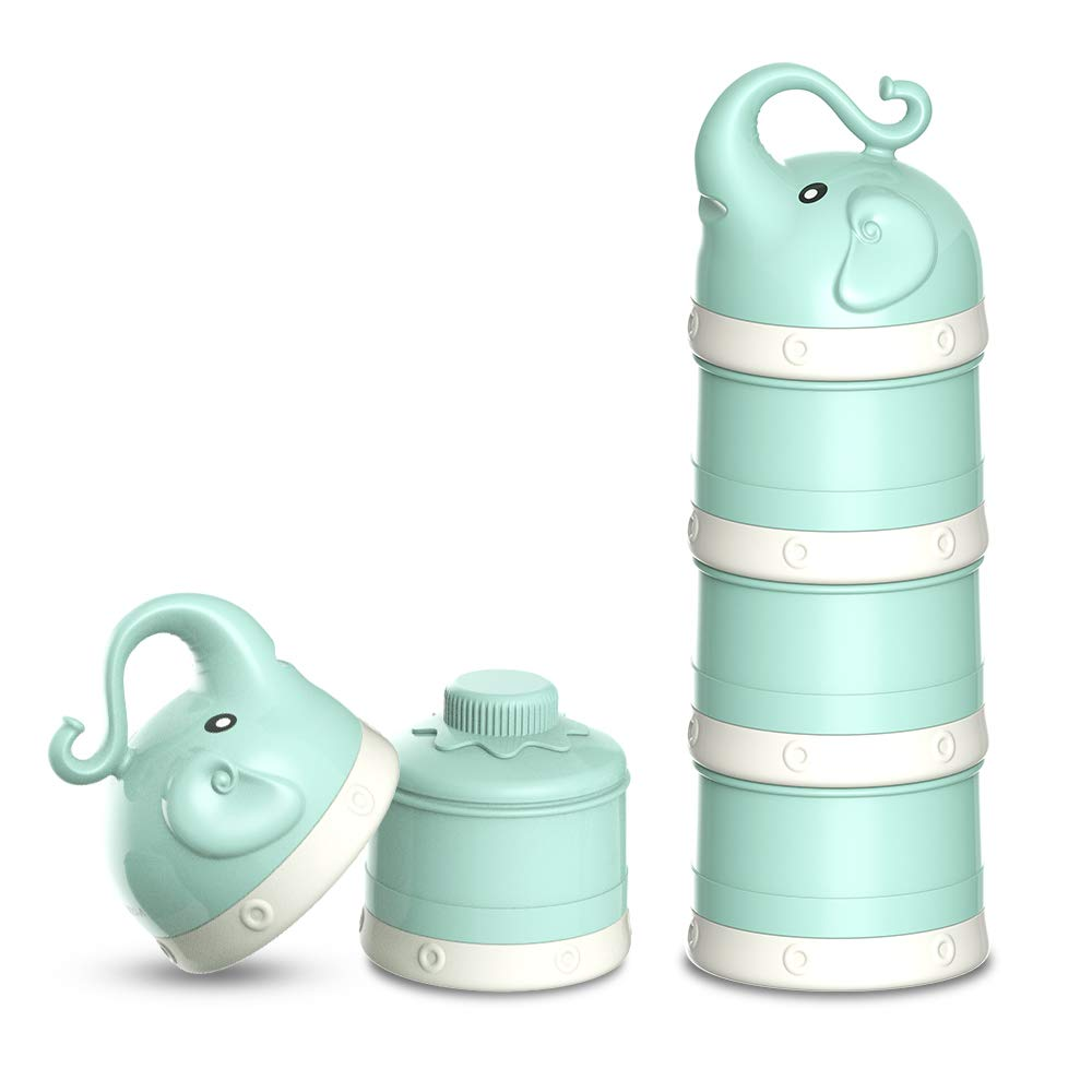 1.ORIY Baby Milk Powder Formula Dispenser,Large Capacity,Non-Spill Twist-Lock Stackable Milk Powder Formula Container and Snack Storage for Travel,Powder Leakage Free,BPA Free,3 Compartment,Green by ORIY