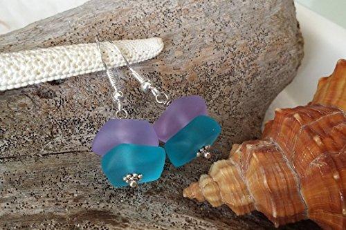 Handmade jewelry in Hawaii, blue purple sea glass earrings, sterling silver hooks, Hawaiian Gift, FREE gift wrap, FREE gift message, FREE shipping