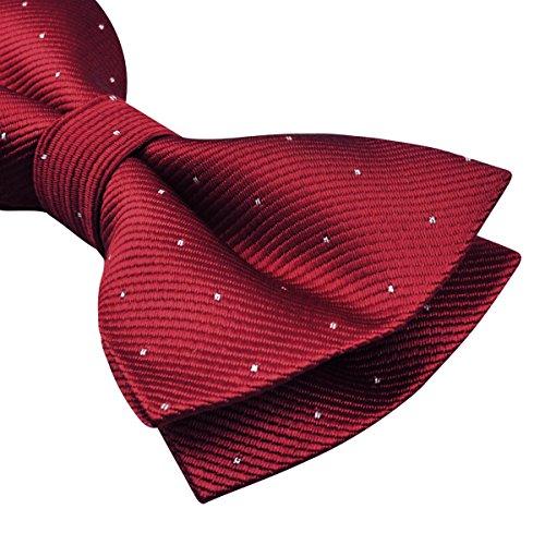 per decorato farfallino e uomo d'argento puntini fazzoletto Alizeal di Set rosso con CXzwqt