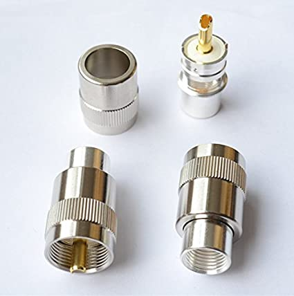 5 pack - PL259 UHF Male Golden Teflon Connector with Golden Tip for RG8 RG214 RG213
