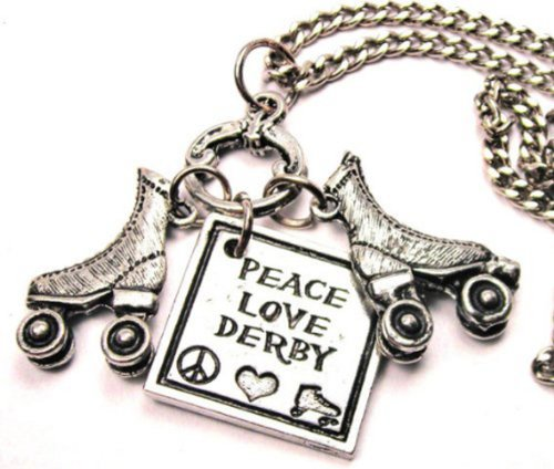 Peace Love Roller Derby with Roller Skates Pewter Charm 18