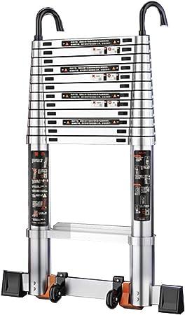 ZR- Escalera Telescópica Con Gancho Desmontable, Aluminio De Múltiples Fines Escalera De Extensión Para Uso Doméstico Industrial, Capacidad De 330Lb -Fácil de almacenar y fácil de llevar: Amazon.es: Hogar