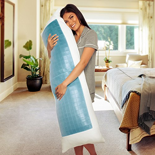 Mindful Design Cooling Memory Foam Body Pillow - Extra Firm Full Shredded Memory Foam Body Pillow w/Cooling Gel, Support and Comfort for Stomach and Side Sleepers by