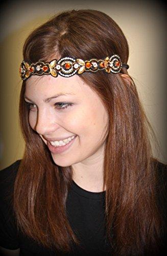 MICAH - Regalia Beaded Rhinestone Stretch No Slip Headband (Hair Jewelry)