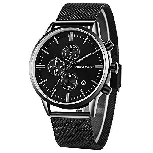Mens Watches Perfect Gifts for Best Dad 30ATM Waterproof Calendar Quartz Wristwatch Male Stainless Steel Business Chronograph (Black)