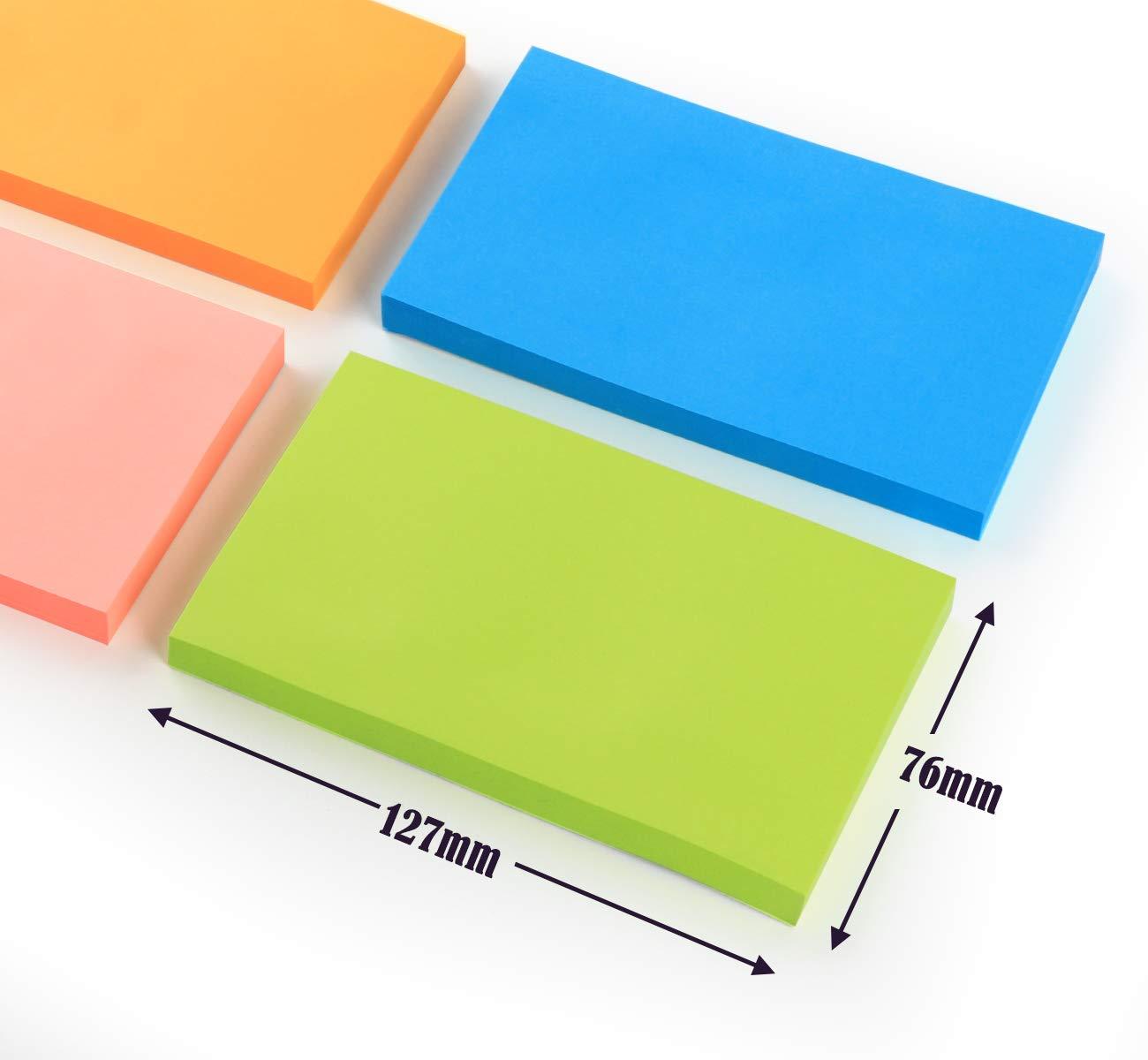 per ufficio e casa 1000 fogli in totale 10 blocchetti adesivi per appunti 76 x 127 mm colorati 10 colori
