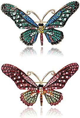 RINHOO FRIENDSHIP Vintage Butterfly Brooch Pin Rhinestones Crystal Antique Cute Animal Shape Corsages Scarf Clips Brooches for Women Girls