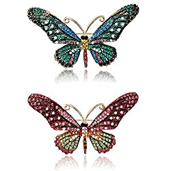 Vintage Butterfly Brooch Pin With Rhinestones Crystal