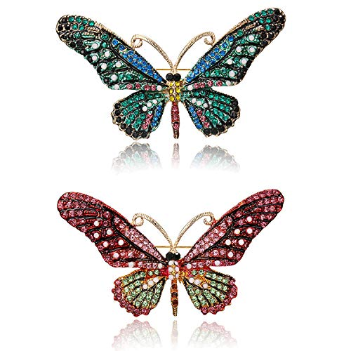 (RINHOO FRIENDSHIP Vintage Butterfly Brooch Pin Rhinestones Crystal Antique Cute Animal Shape Corsages Scarf Clips Brooches for Women Girls)