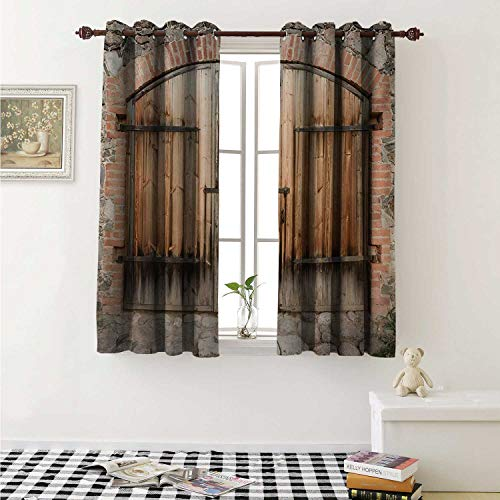 shenglv Rustic Blackout Draperies for Bedroom Wooden Door of a Stone House with Wrought Iron Elements Tuscany Architecture Photo Curtains Kitchen Valance W72 x L63 Inch Brown Grey ()