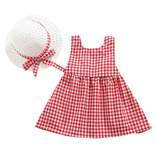 VEFSU Fashion Toddler Kid Baby Girl Plaid Printed Party Bow Princess Dress+Hat Outfits Set Clothes Red 80CM -