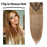 Clip in Hair Extensions Strawberry Blonde 14-24 inch Remy Human Hair for Women 8pcs 18 Clips Full Head Soft Straight Hair(16'=65g #27)