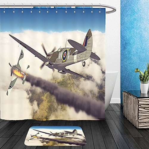 Vanfan Bathroom 2 Suits 1 Shower Curtains &  1 Floor Mats render of a ww supermarine spitfire d model in flight 250816861 From Bath room - Price Is Right Model Costume