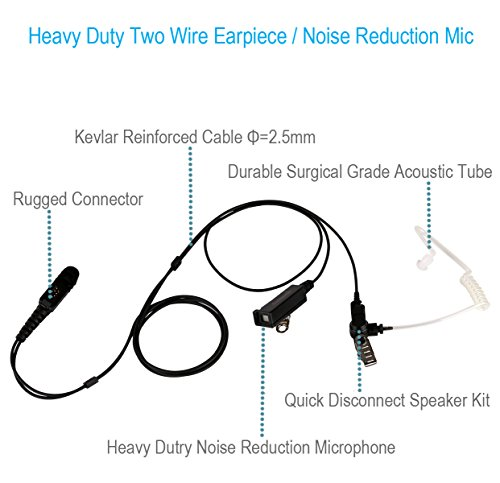 5 Pack Two Wire Earpiece with Kevlar Reinforced Cable for Motorola Radio XPR3000 XPR3300 XPR3500 XPR3300e XPR3500e XPR 3300 3500 3300e 3500e, Acoustic Tube, Noise Reduction Mic, Surveillance Headset by Commountain (Image #1)