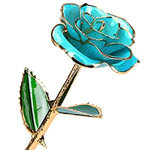 24k Gold Rose Flower Long Stem Rose Dipped in Gold Gift Women Girls on Birthday, Valentine's Day, Mother's Day, Christmas 6