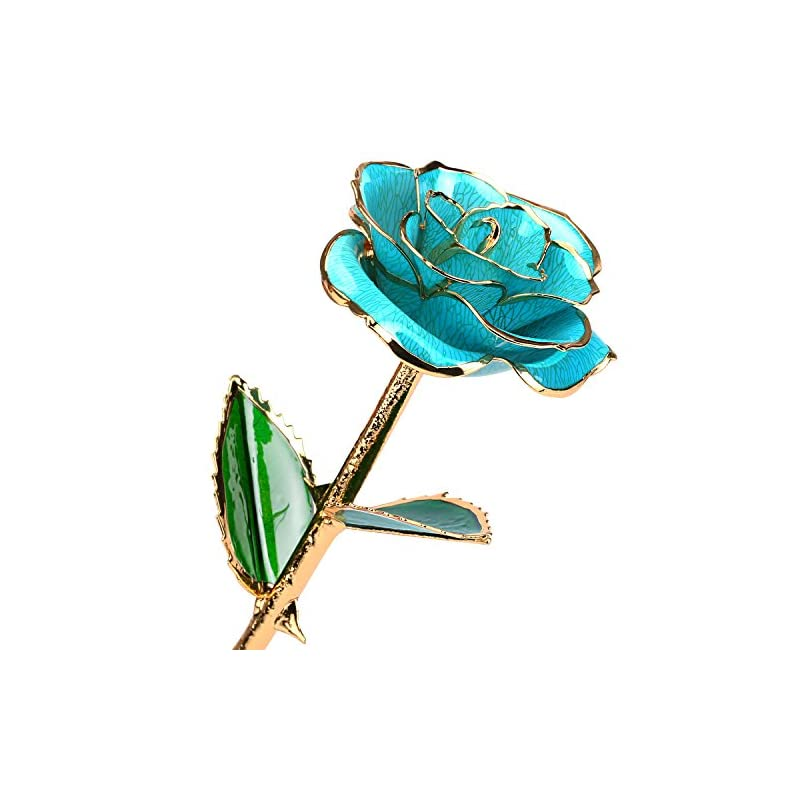 silk flower arrangements 24k gold rose birthday gift for women, flower rose dipped in gold with long stem gift for women girls on birthday, valentine's day, mother's day, christmas (light blue)